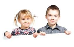 Children holding banner Stock Photo