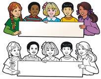 Children Holding A Banner Stock Image