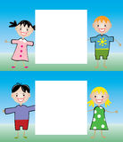 Children holding blank paper Royalty Free Stock Photography