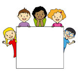 Children holding board Stock Photos