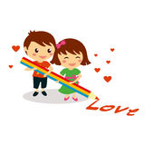 Children holding colorful pencil and write love Stock Image