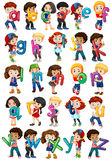 Children holding english alphabets Stock Photo
