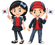 Children holding flag of South Korea Royalty Free Stock Images
