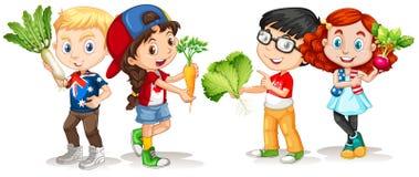 Children holding fresh vegetables Royalty Free Stock Images