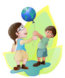Children holding globe balloon vector illustration