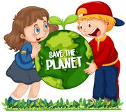 Children holding globe on white background. Illustration stock illustration