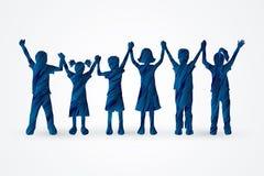 Children holding hand. S designed using blue grunge brush graphic vector vector illustration