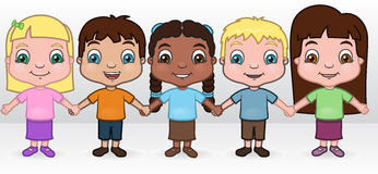 Children Holding Hands. This is an illustration of a diverse group of kids holding hands Royalty Free Stock Photo