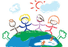 Children holding hands. Illustration of children holding hands stand on the earth Stock Photos