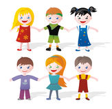 Children holding hands. Little boys and girls in colorful clothes holding hands. You can make a long chain stock illustration