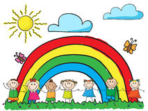 Children holding hands. Smiling kids holding hands on rainbow background stock illustration