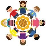 Children holding hands around sunflower vector illustration