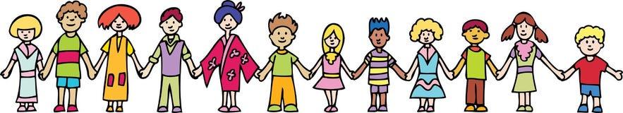 Children Holding Hands Banner vector illustration