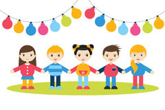 Children holding hands. Cartoon kids figures. Small boys and girls on a white background with color festive flags. Stock Photography