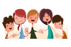 Children holding hands  illustration cartoon character Stock Images