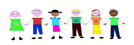 Children holding hands on white background Royalty Free Stock Photography