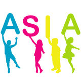 Children holding letters building the word ASIA Royalty Free Stock Image