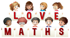 Children holding love maths sign Stock Photography