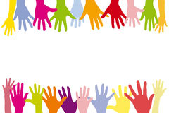 Children holding many colorful hands Stock Photo