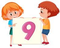 Children holding number nine card vector illustration