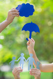 Children holding paper family Royalty Free Stock Photos