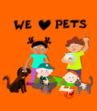 Children holding pets. Children - kids holding pets / animals Royalty Free Stock Photography