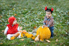 Children holding pumpkin. Halloween concept Stock Photography