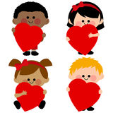 Children holding red hearts Stock Photos