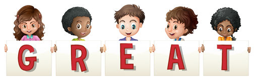 Children holding sign for word great Stock Photo