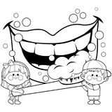 Children holding a toothbrush and brushing teeth. Coloring book page. Vector illustration of a smiling mouth with clean teeth, children holding a toothbrush and vector illustration