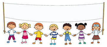 Children holding up a banner Stock Photo