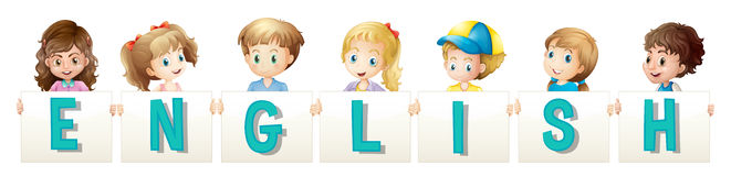 Children holding wordcard for english Stock Image