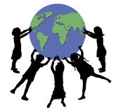 Children Holding World 2 Stock Photography