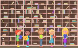 Children Holds Literature on Library Background. Five schoolchildren holds literature on library background vector illustration. Brown shelves with color books stock illustration