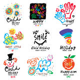 Children holiday logo and illustrations. Royalty Free Stock Image