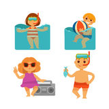 Children holiday vacations at beach vector flat icons set Stock Photography