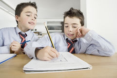 Children with Homework at Home Royalty Free Stock Photography