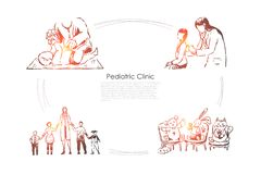 Children hospital, physician checks kids health, doctor and little patients holding hands, childcare banner. Pediatrician profession, pediatric clinic concept royalty free illustration