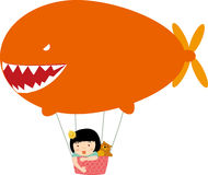 Children and hot air balloon. Illustration of happy children and hot air balloon Stock Photos