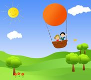 Children in a hot air balloon. Illustrations of children flying with hot air balloon Stock Photography