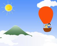 Children in a hot air balloon. Illustrations of children flying with hot air balloon Stock Image