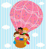 Children and hot balloon. Group of children and hot balloon Royalty Free Stock Photos