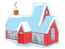 Children in house before Christmas. Happy children in snow-covered house awaiting Santa Claus before Christmas, hand drawing vector illustration Royalty Free Stock Image
