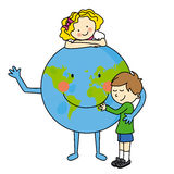 Children hugging the planet Royalty Free Stock Images