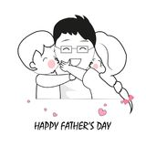 Children hugging their dads. Father, son and daughter. Happy Father`s Day greeting card. Background royalty free illustration