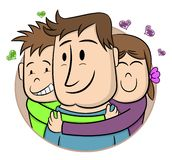 Father`s Day. Smiling Children Hugging Their Father. Cartoon vector illustration. Hand drawn style greeting card for father`s da stock illustration