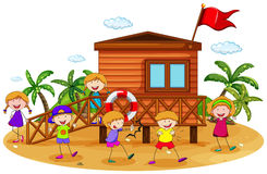Children and hut Royalty Free Stock Image