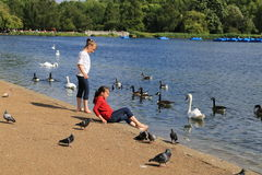 Children at Hyde park in London stock photo