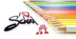 Children, I love school. Colorful pencils with the words I love school Royalty Free Stock Photo