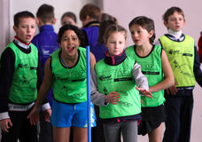 Children on the IAAF Kid's Athletics competition Stock Photo